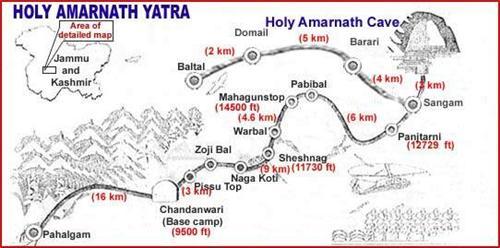 Amarnath Yatra Route Map