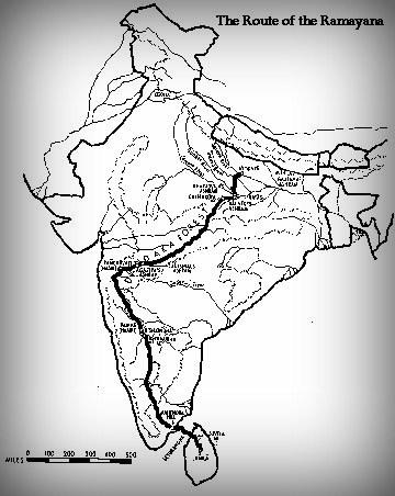 Rama s Journey From Lanka to Ayodhya - Map