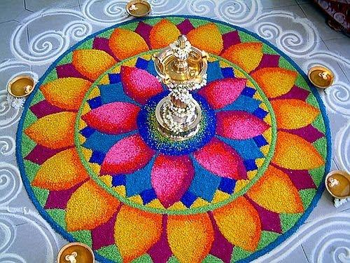Ornate Lamp Rangoli Design