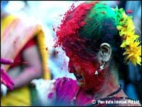 Women enjoying Holi