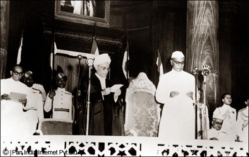 Dr. Rajendra Prasad taking oath as the President of India