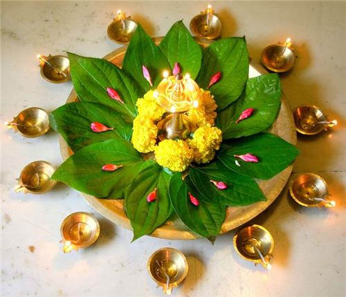 Diwali decorations diwali decoration ideas diwali puja for Simple diwali home decorations