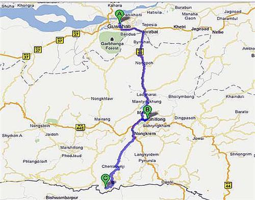 Guwahati to Shillong By road